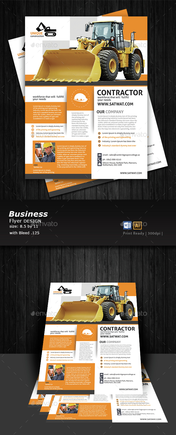 Construction Flyer Design  - Flyers Print Templates
