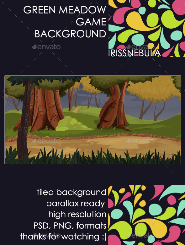 Green Meadow Game Background - Backgrounds Game Assets