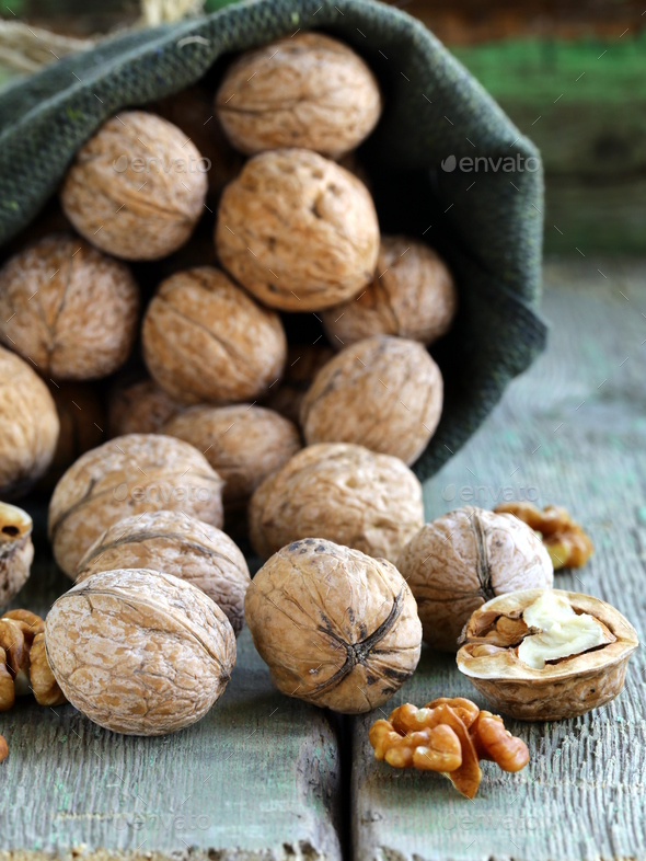 Linen Bag with Whole Ripe Walnuts - Stock Photo - Images