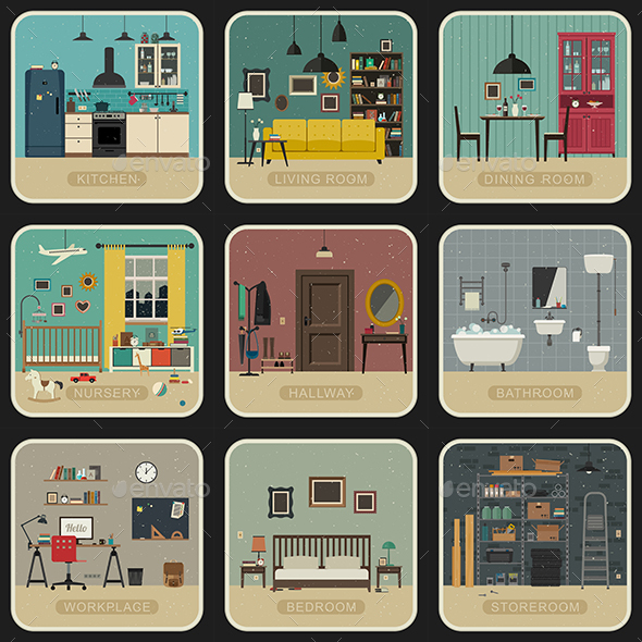 Set of Interior Rooms - Buildings Objects