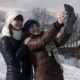 Girlfriends Do Selfie on The Mountain Using Tablet - VideoHive Item for Sale