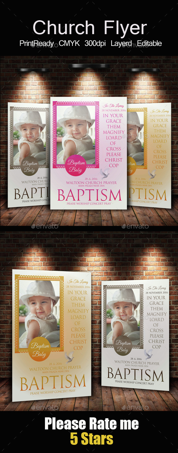 Baby Baptism Flyers Templates - Church Flyers