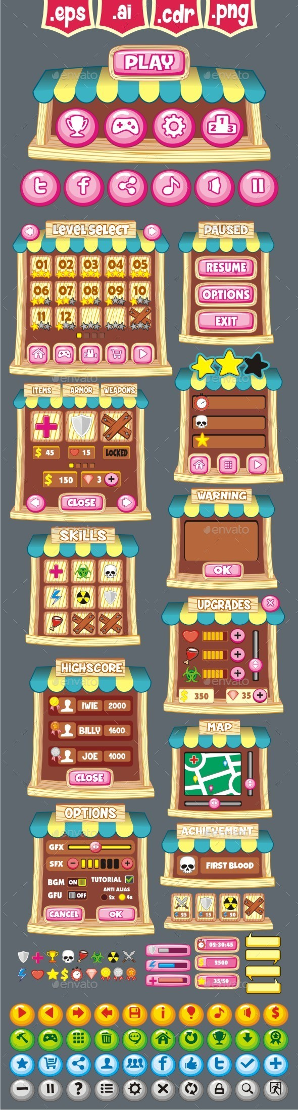 cartoon game gui pack 28 - User Interfaces Game Assets