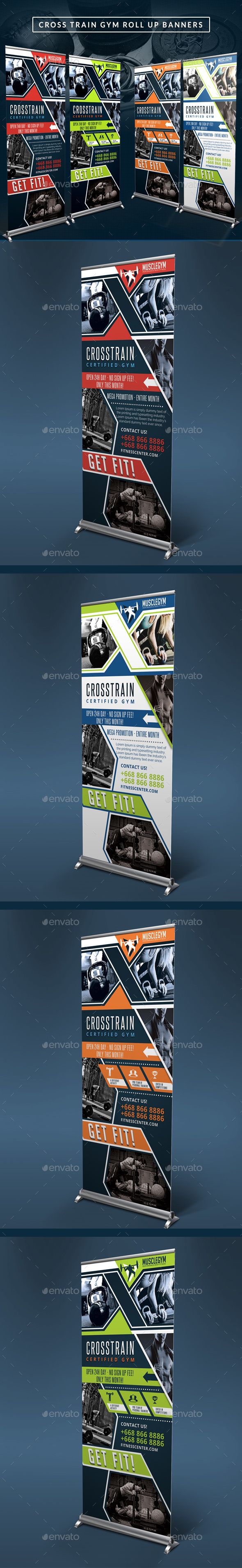 Cross Training Gym Roll Up Banners - Signage Print Templates