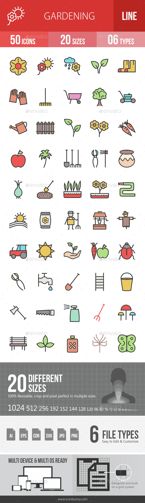Gardening Filled Line Icons - Icons