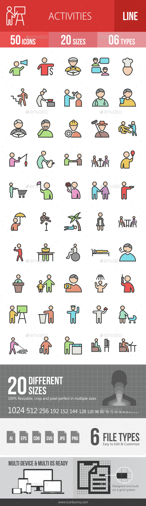 Activities Filled Line Icons - Icons
