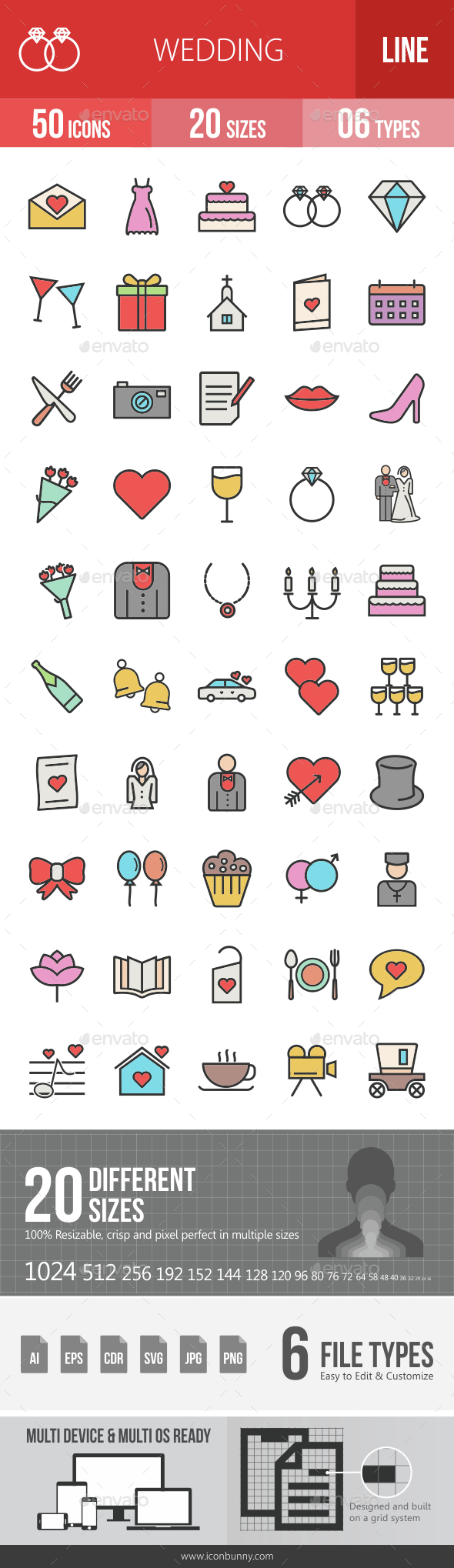 Wedding Filled Line Icons - Icons