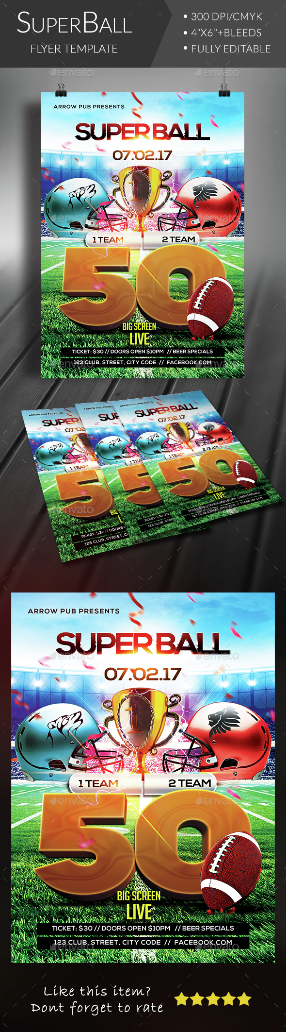 Superball Football Flyer - Clubs & Parties Events