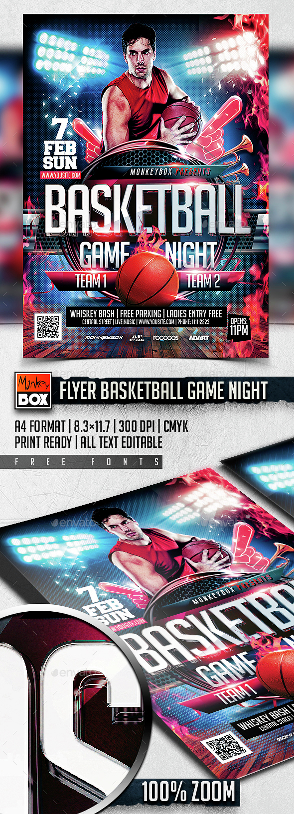 Flyer Basketball Game Night - Sports Events