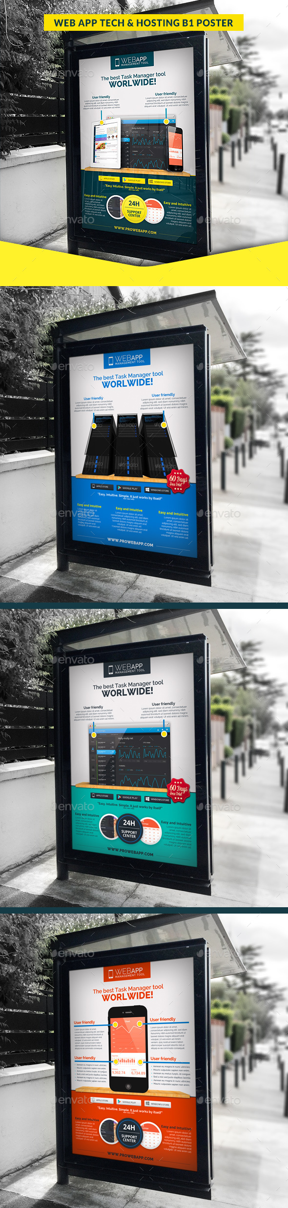 Web App Tech & Hosting Business B1 Poster - Signage Print Templates
