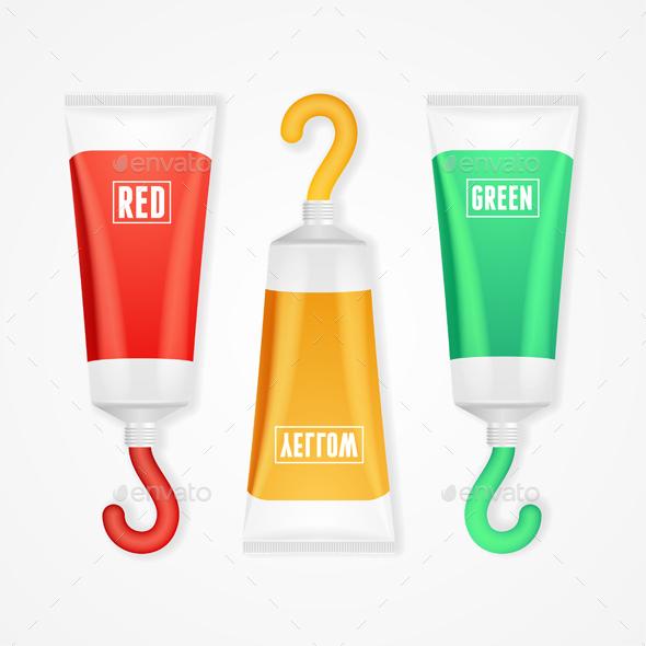 Colorful Paint Tubes Set. Vector - Conceptual Vectors
