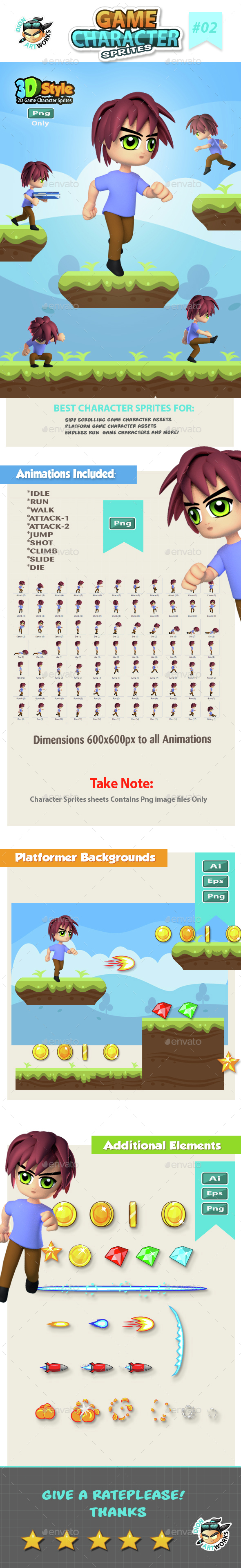 3D Style Game Character Sprite sheets 02 - Sprites Game Assets