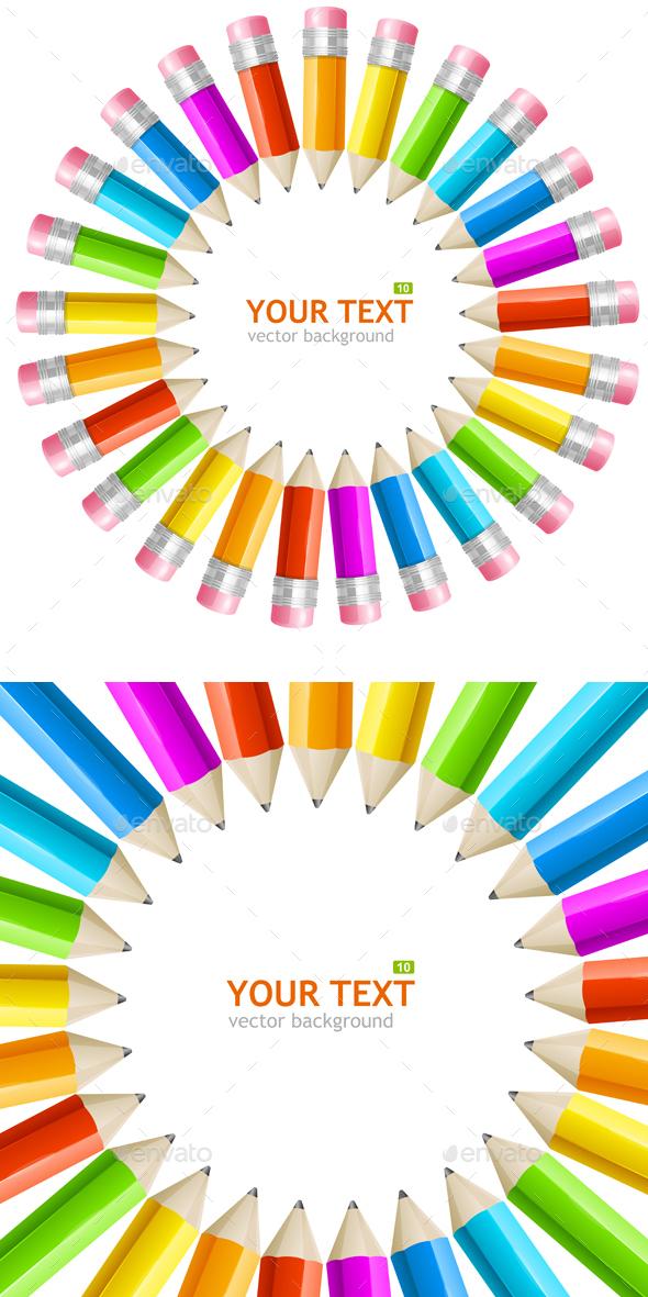 Rainbow Pencils Frame. Vector - Backgrounds Decorative