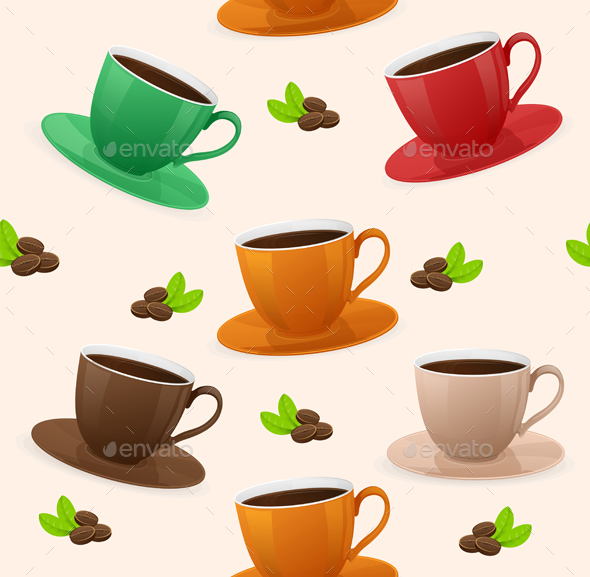 Seamless Pattern Coffee Cups. Vector - Patterns Decorative