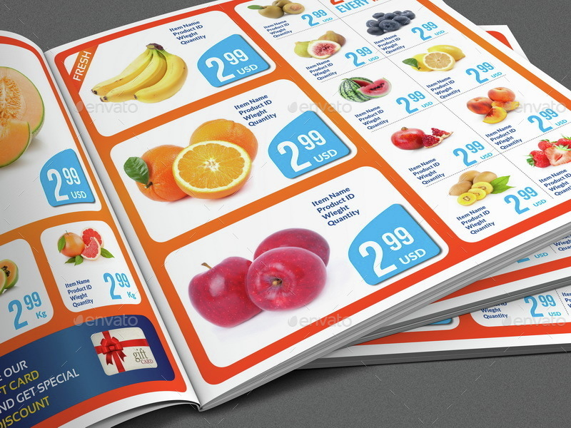Supermarket Products Catalog Brochure Template Vol3 By Owpictures