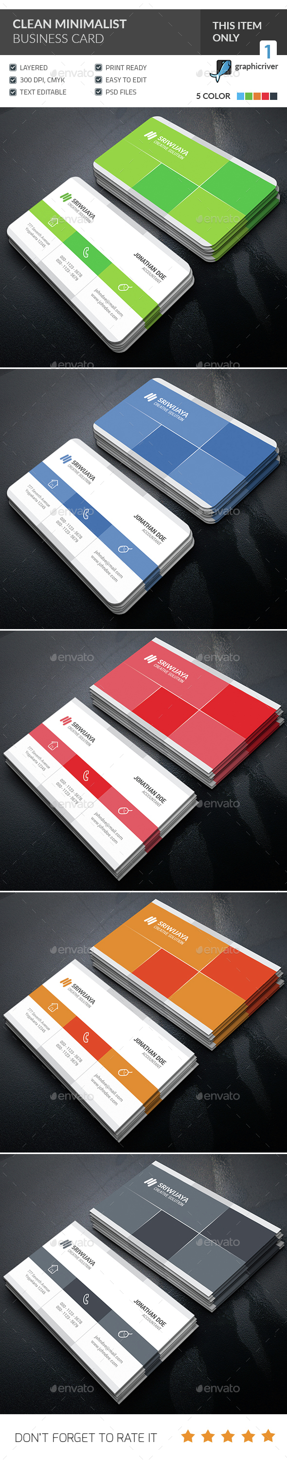 Clean Minimalist Business Card  - Corporate Business Cards