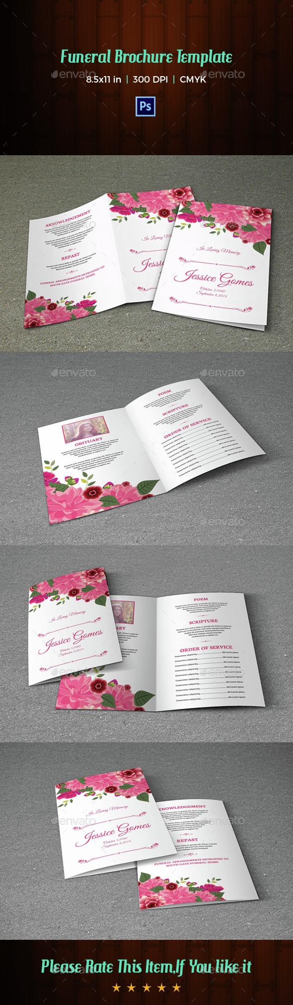Floral Funeral Program Template-V05 - Informational Brochures
