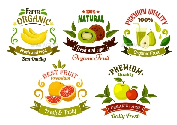 Organic Fresh Fruits Emblems And Symbols - Food Objects