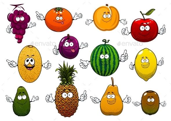 Happy Ripe And Fresh Cartoon Fruits - Food Objects