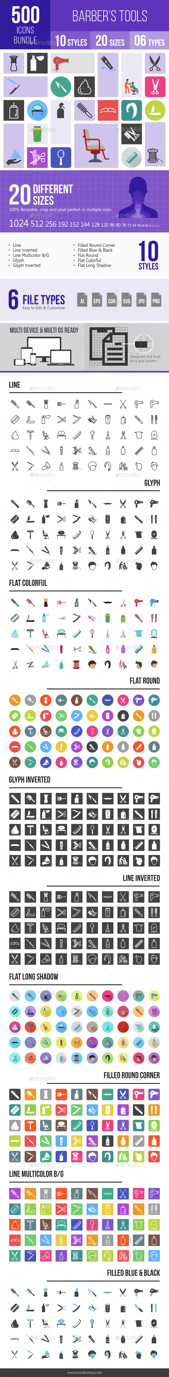 500 Barber's Tools Icons Bundle - Icons
