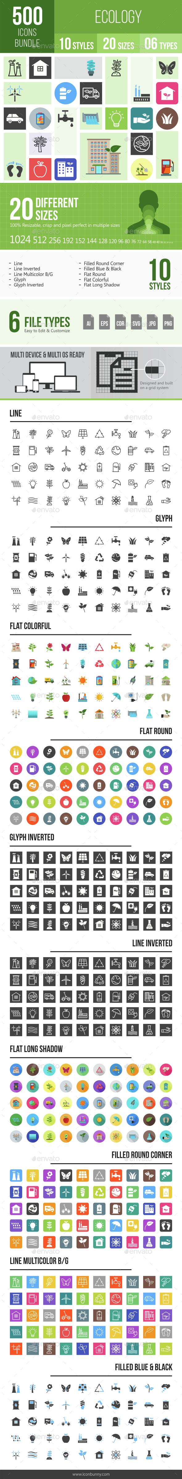 500 Ecology Icons Bundle - Icons