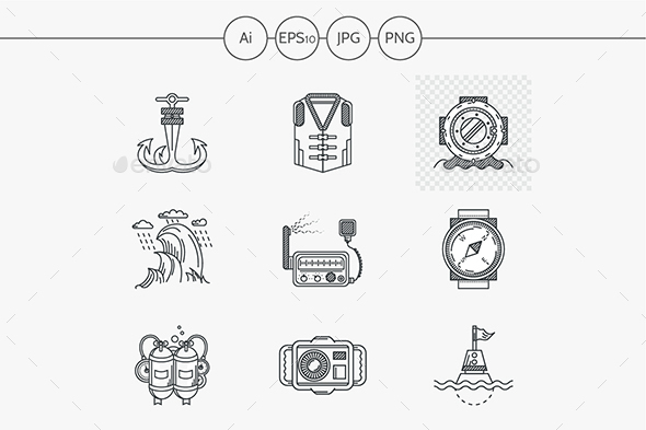 Marine flat line style vector icons - Man-made objects Objects