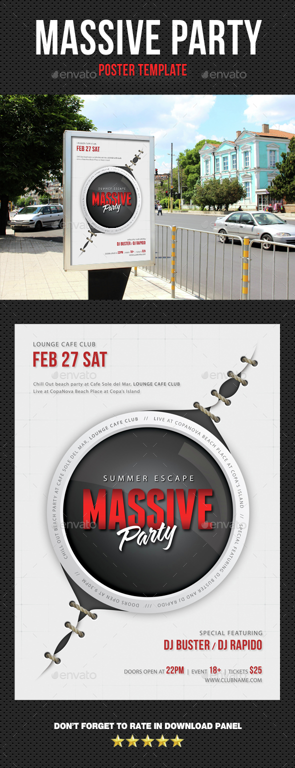 Massive Party Event Poster - Signage Print Templates
