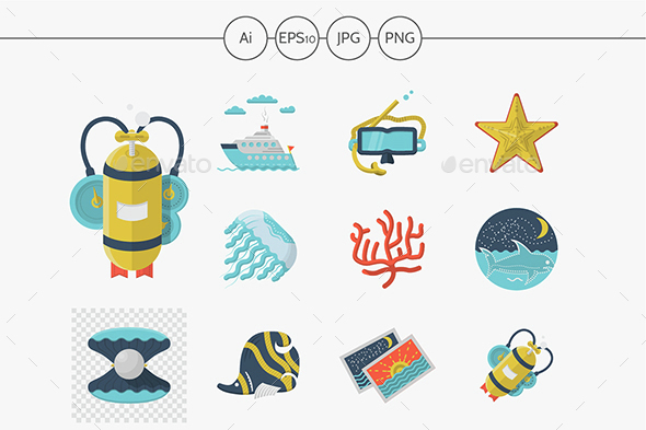 Flat color diving vector icons - Seasonal Icons