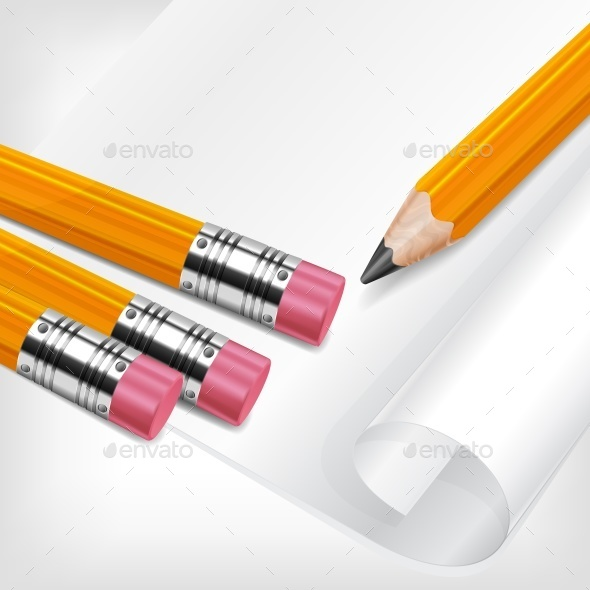 Pencils Paper Wooden Vector Illustration - Vectors