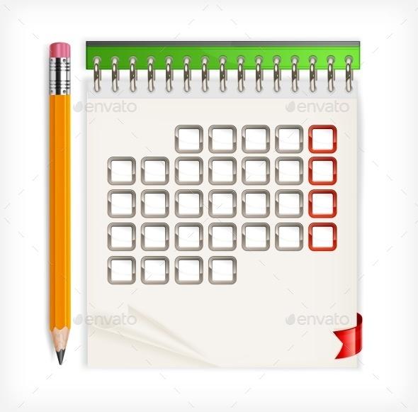 Pencil Calendar Wooden Vector Illustration - Vectors