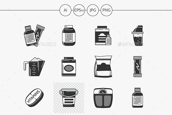 Black vector icons for sport supplements - Food Objects