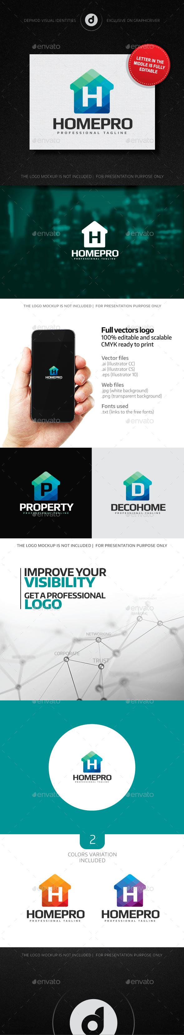 HomePro Logo (Editable letter)  - Buildings Logo Templates