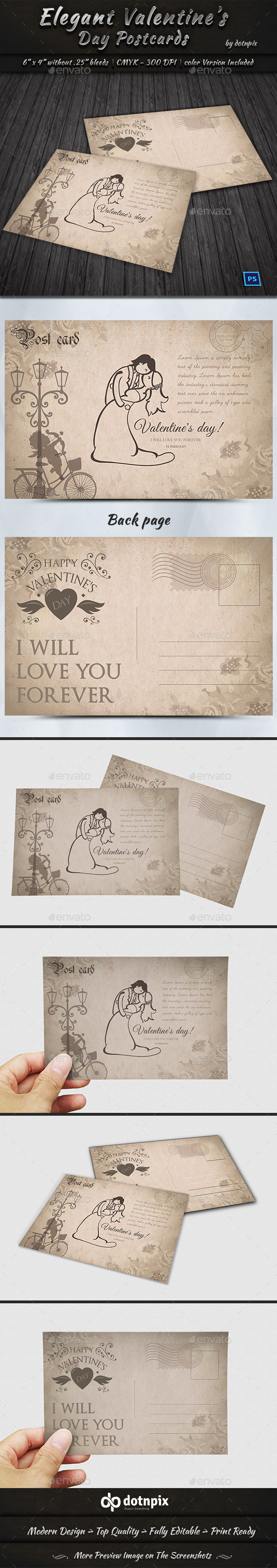 Elegant Valentine Day Postcard - Cards & Invites Print Templates