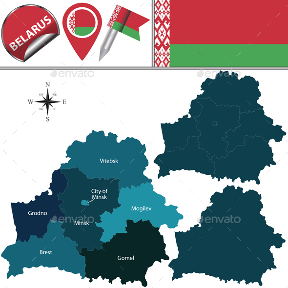 Map of Belarus with Named Regions - Travel Conceptual