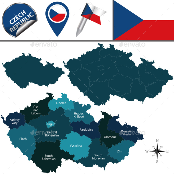 Map of Czech Republic with Named Regions - Travel Conceptual