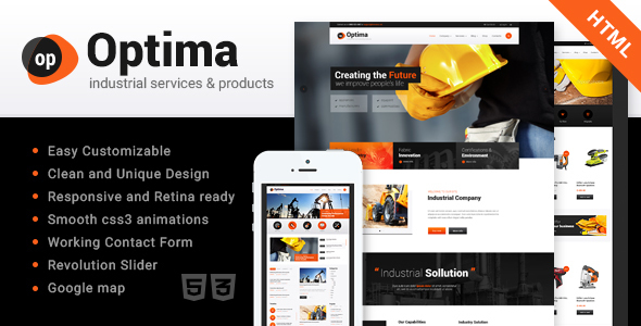 Optima | Industrial HTML Template