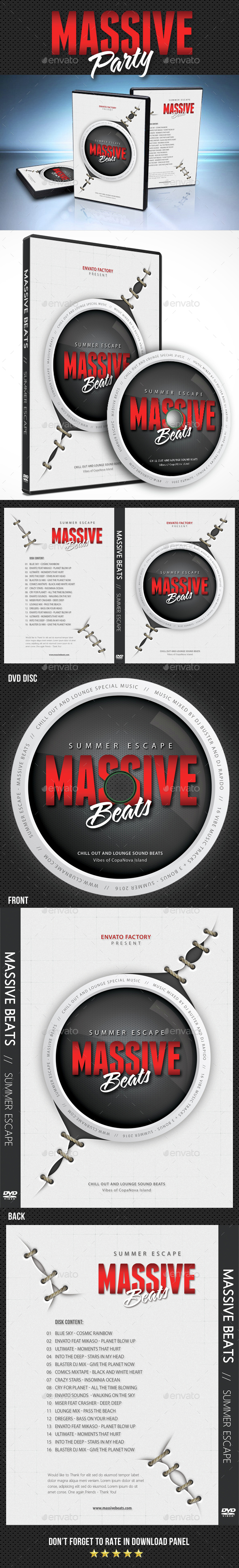 Massive Party Event DVD Cover Template - CD & DVD Artwork Print Templates
