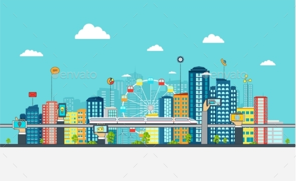Smart City With Business Signs.  - Web Technology