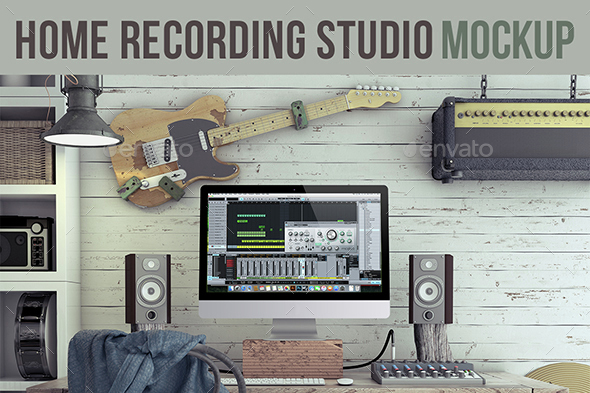 Home Recording Studio Mock-Up #3 - Product Mock-Ups Graphics