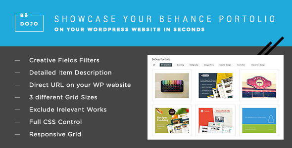 BeDojo - Behance Works WordPress Portfolio Plugin - CodeCanyon Item for Sale