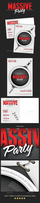 Massive Party Event Postcard - Cards & Invites Print Templates