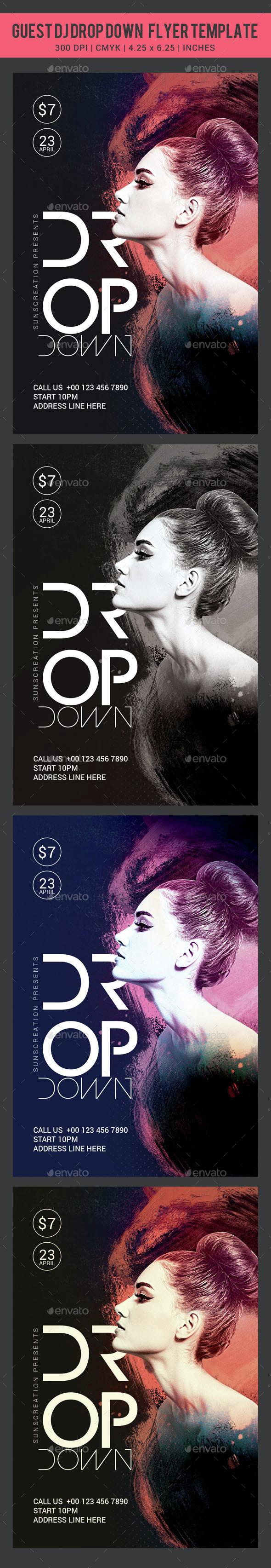 Guest Dj Drop Down Flyer Template - Clubs & Parties Events