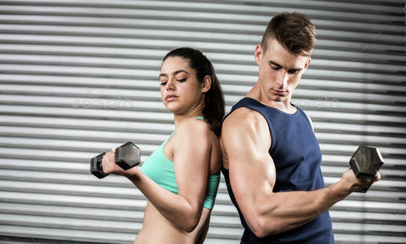 Fit people lifting dumbbells back to back at crossfit gym - Stock Photo - Images
