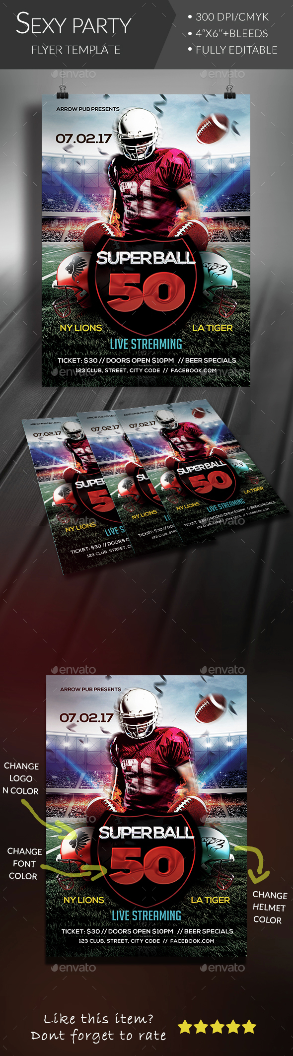 Superball Football Flyer - Sports Events
