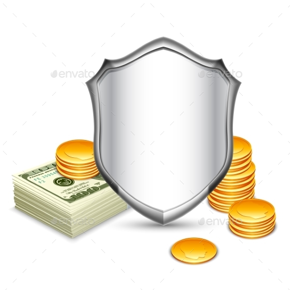 Security Shield Protecting Money - Concepts Business