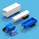 Truck with three trailers - 3DOcean Item for Sale