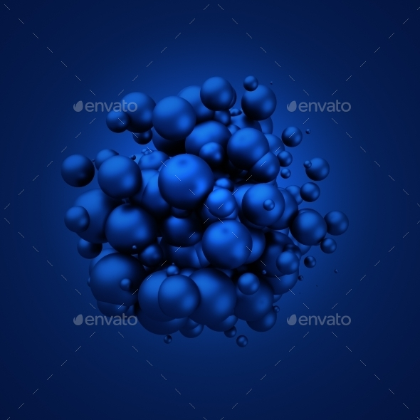 Abstract 3D Rendering Of Flying Spheres. - 3D Backgrounds