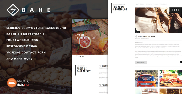 Bahe - Responsive One Page Portfolio Template