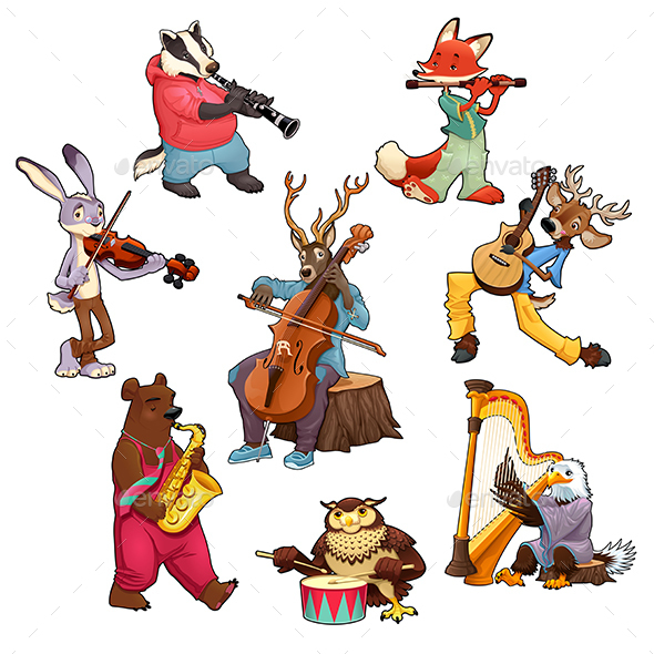 Musician Cartoon Animals - Animals Characters