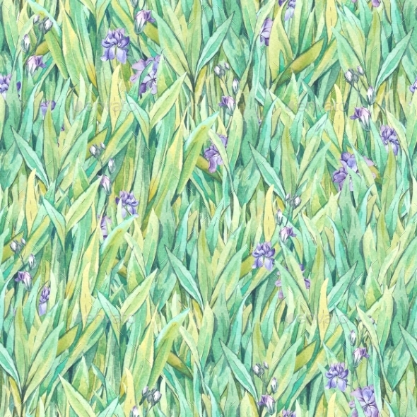 Watercolor Seamless Pattern With Grass - Backgrounds Decorative